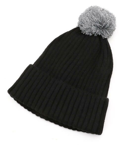 COMME CA FILLE / コムサ・フィユ ニットキャップ | ポンポン付きニット帽(ブラック)