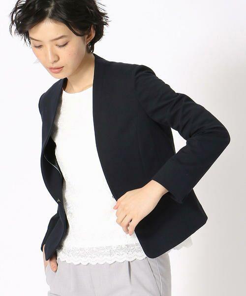 COMME CA ISM / コムサイズム その他アウター   《UVカット/ウォッシャブル》 ジャージー ノーカラー ジャケット 日本素材(ネイビー)