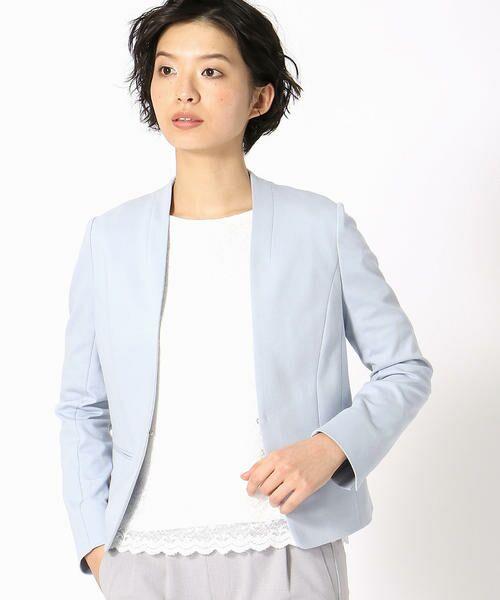 COMME CA ISM / コムサイズム その他アウター   《UVカット/ウォッシャブル》 ジャージー ノーカラー ジャケット 日本素材(サックス)