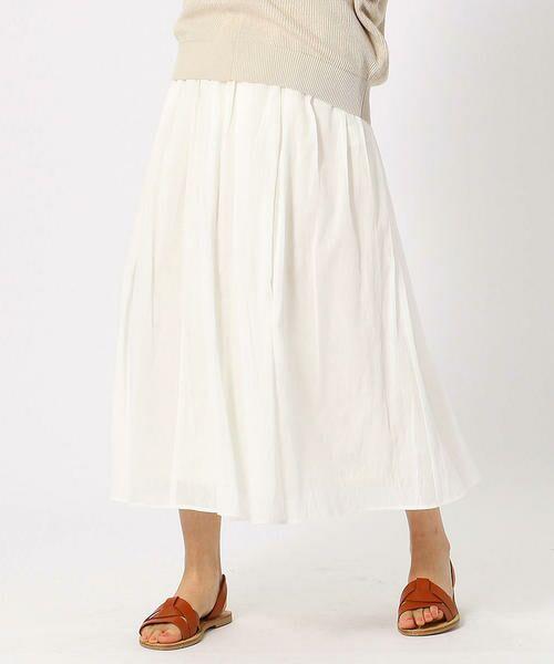 COMME CA ISM / コムサイズム ロング・マキシ丈スカート   コットン ギャザースカート(ホワイト)