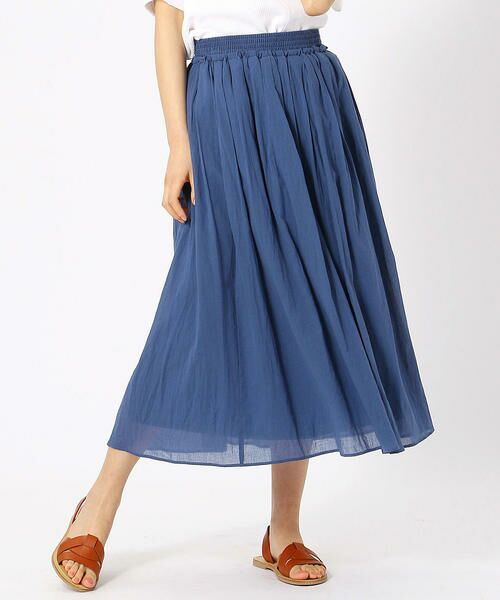 COMME CA ISM / コムサイズム ロング・マキシ丈スカート   コットン ギャザースカート(ブルー)