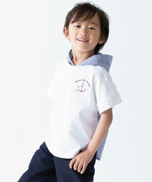 40b3d068268e8 キッズ・ベビーおそろいアイテム フード付き ビッグTシャツ (Tシャツ ...