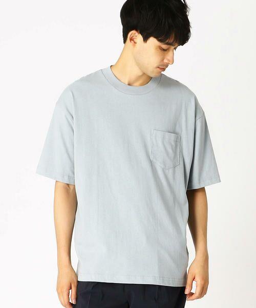 COMME CA ISM / コムサイズム Tシャツ   日本の伝統色 ポケット付 Tシャツ(深川鼠)