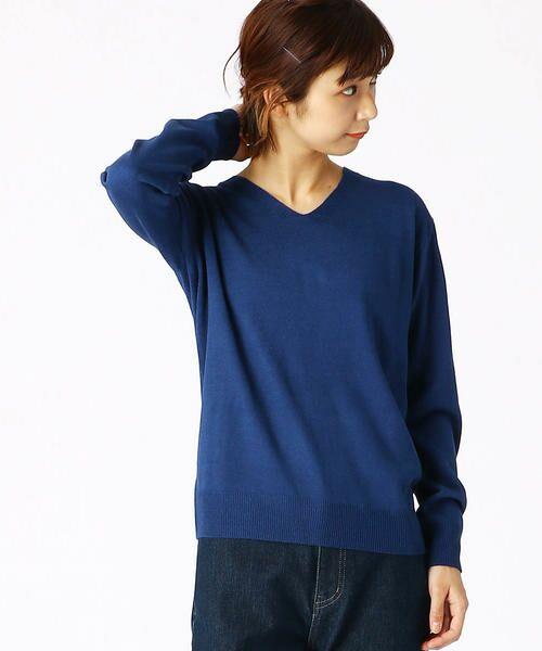 COMME CA ISM / コムサイズム ニット・セーター | Vネック ニットプルオーバー(ブルー)