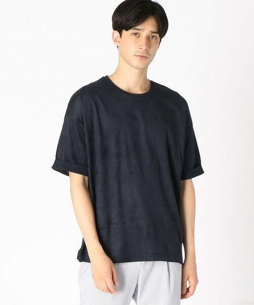 COMME CA ISM / コムサイズム Tシャツ | フェイクスエード ビッグTシャツ(ネイビー)