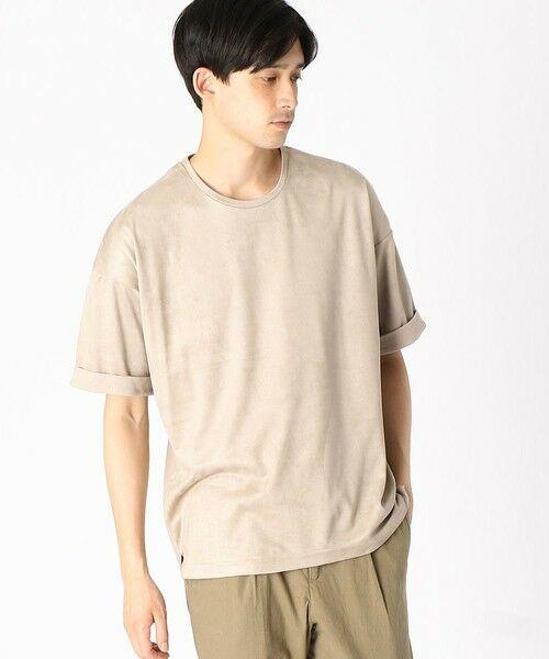COMME CA ISM / コムサイズム Tシャツ | フェイクスエード ビッグTシャツ(ベージュ)