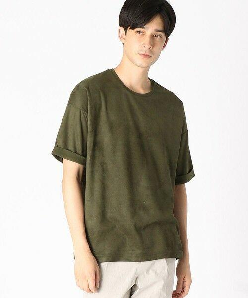 COMME CA ISM / コムサイズム Tシャツ | フェイクスエード ビッグTシャツ(カーキ)