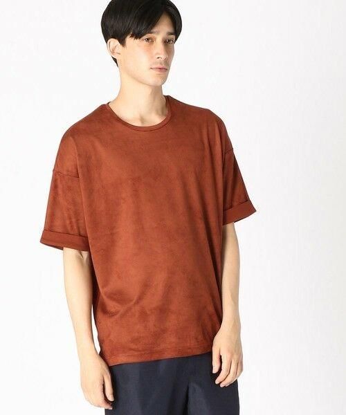 COMME CA ISM / コムサイズム Tシャツ | フェイクスエード ビッグTシャツ(レンガ)