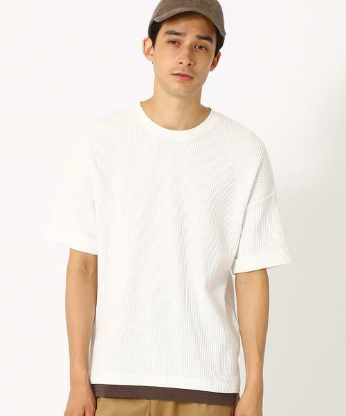 COMME CA ISM / コムサイズム Tシャツ | ワッフル ビッグTシャツ(ホワイト)