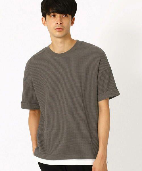 COMME CA ISM / コムサイズム Tシャツ | ワッフル ビッグTシャツ(チャコール)