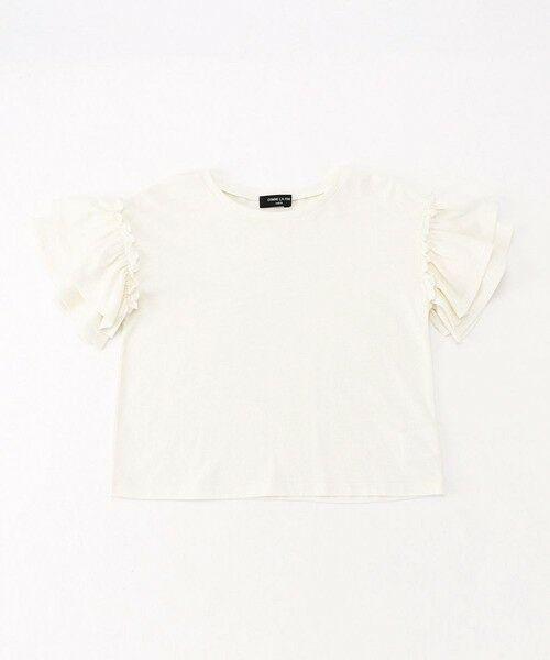 COMME CA ISM / コムサイズム Tシャツ | フリル袖 半袖Tシャツ(ホワイト)