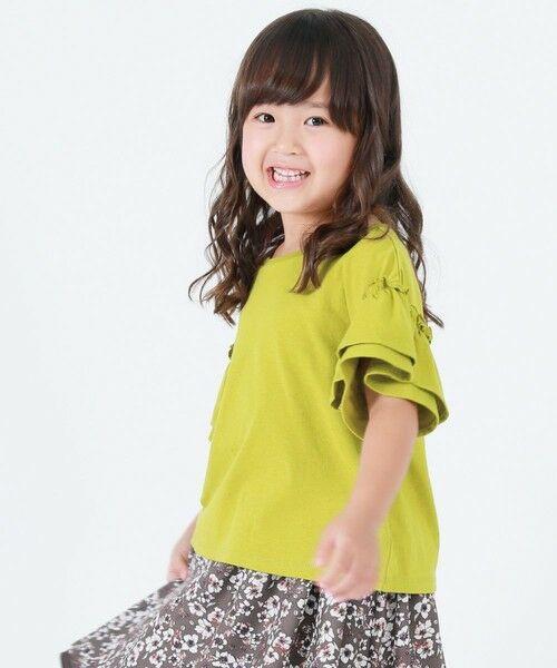 COMME CA ISM / コムサイズム Tシャツ | フリル袖 Tシャツ(オリーブ)