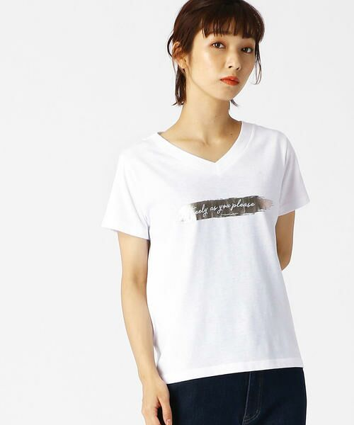 COMME CA ISM / コムサイズム Tシャツ | 箔プリントTシャツ(ホワイト)