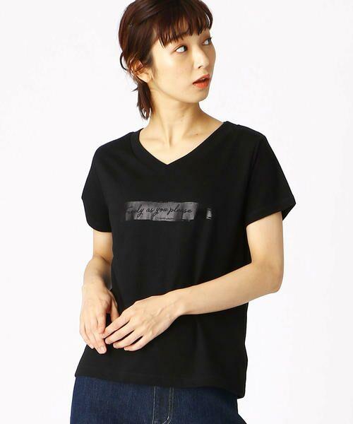 COMME CA ISM / コムサイズム Tシャツ | 箔プリントTシャツ(ブラック)