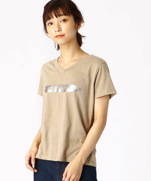 COMME CA ISM / コムサイズム Tシャツ | 箔プリントTシャツ(ベージュ)
