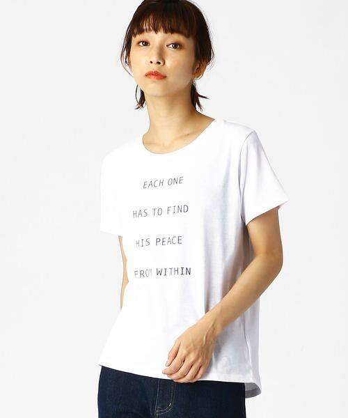 COMME CA ISM / コムサイズム Tシャツ   ロゴプリントTシャツ(ホワイト)