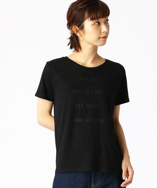 COMME CA ISM / コムサイズム Tシャツ   ロゴプリントTシャツ(ブラック)