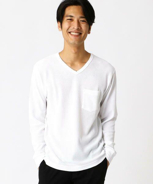 COMME CA ISM / コムサイズム Tシャツ | VネックTシャツ(ホワイト)