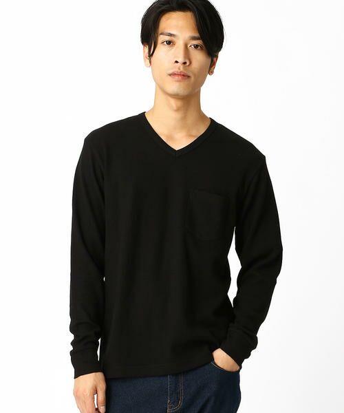 COMME CA ISM / コムサイズム Tシャツ | VネックTシャツ(ブラック)