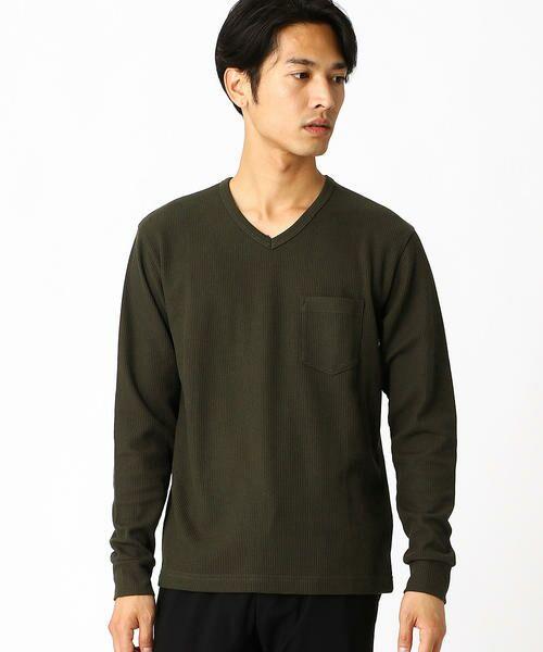 COMME CA ISM / コムサイズム Tシャツ | VネックTシャツ(カーキ)
