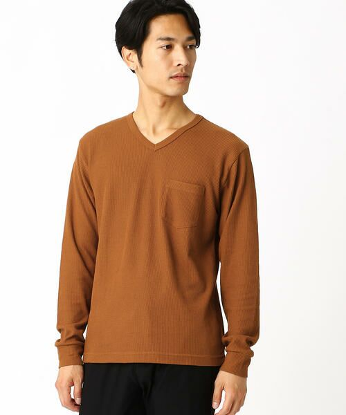COMME CA ISM / コムサイズム Tシャツ | VネックTシャツ(マスタード)