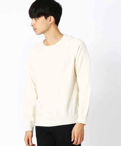 COMME CA ISM / コムサイズム ニット・セーター | クルーネック カラー プルオーバー(ホワイト)