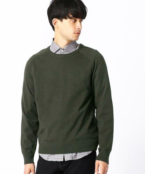 COMME CA ISM / コムサイズム ニット・セーター | クルーネック カラー プルオーバー(カーキ)