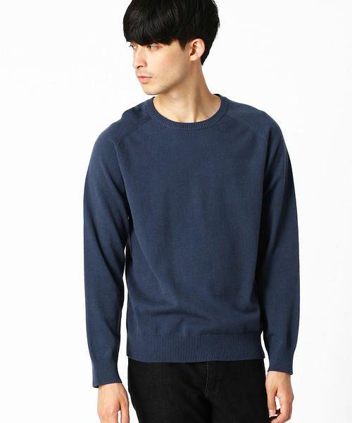 COMME CA ISM / コムサイズム ニット・セーター | クルーネック カラー プルオーバー(ブルー)