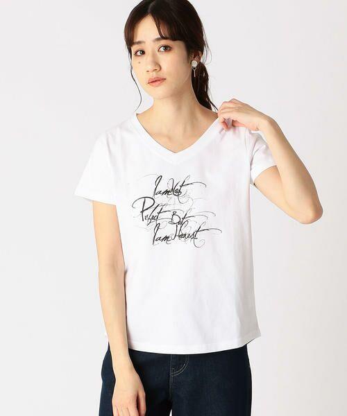 COMME CA ISM / コムサイズム Tシャツ   メッセージプリント Vネック Tシャツ(ホワイト)