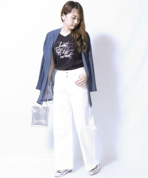 COMME CA ISM / コムサイズム Tシャツ   メッセージプリント Vネック Tシャツ   詳細1