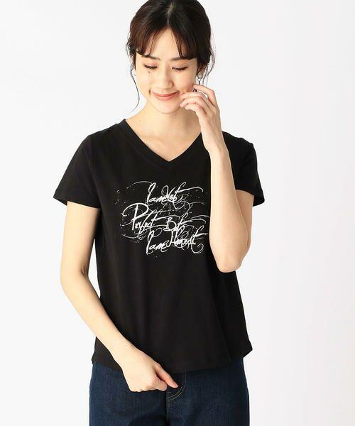 COMME CA ISM / コムサイズム Tシャツ   メッセージプリント Vネック Tシャツ(ブラック)