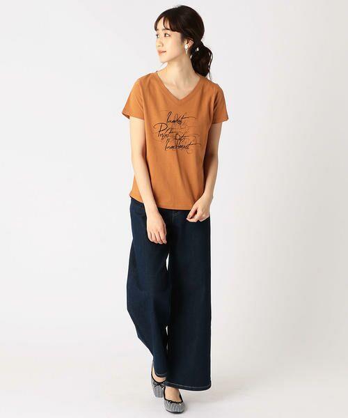 COMME CA ISM / コムサイズム Tシャツ   メッセージプリント Vネック Tシャツ   詳細3