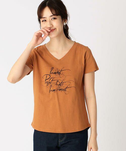 COMME CA ISM / コムサイズム Tシャツ   メッセージプリント Vネック Tシャツ   詳細4