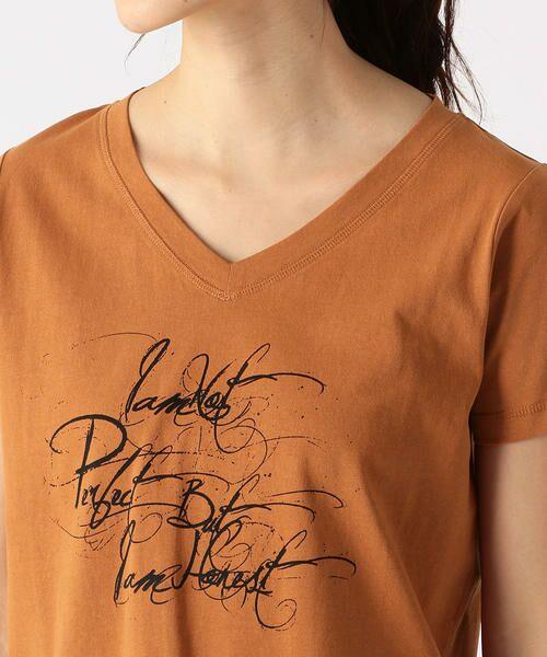 COMME CA ISM / コムサイズム Tシャツ   メッセージプリント Vネック Tシャツ   詳細7