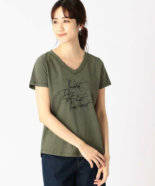 COMME CA ISM / コムサイズム Tシャツ   メッセージプリント Vネック Tシャツ(カーキ)