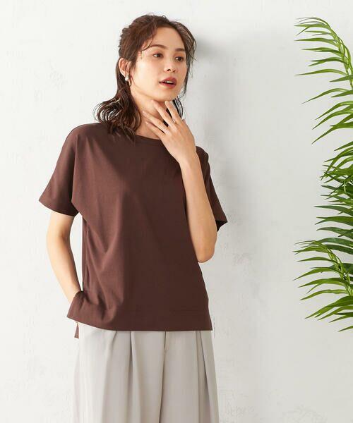 COMME CA ISM / コムサイズム Tシャツ | フレンチスリーブ Tシャツ(ブラウン)