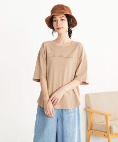 ◆ ONIGIRI(おにぎり)の 異素材切り替え メッセージプリント ワイドTシャツ ◆<br><br>《素材》<br>綿100%の、軽やかで柔らかい肌触りのコットン天竺素材。<br>吸湿性・速乾性に優れた着心地の良い素材感です。<br>染料に顔料を使用するピグメント染色をしています。<br>これは、繊維の奥まで浸透させず、表面のみに色をのせる手法です。<br>その後、バイオウォッシュ加工を施し、ヴィンテージのような絶妙な色を表現しています。<br><br>《デザイン》<br>後ろにブロード素材の別地を使用したデザインTシャツ。<br>胸元には半ラバープリントを施して、カジュアルな印象に仕上げました。<br>英文の意味は「静かな(穏やかな・落ち着いた)雰囲気」です。<br>裾は、前後に差を出したラウンドヘム仕様なので、一枚でサマになり、<br>ヒップラインもさりげなくカバー。