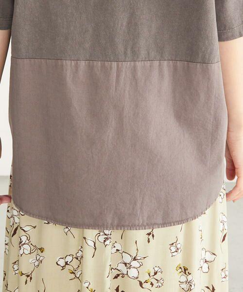 COMME CA ISM / コムサイズム カットソー   異素材切り替え メッセージプリント ワイドTシャツ   詳細11