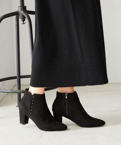 COMME CA ISM / コムサイズム ブーツ(ロング丈) | 《フェイクスエード》 ショート アンクルブーツ(ブラック)