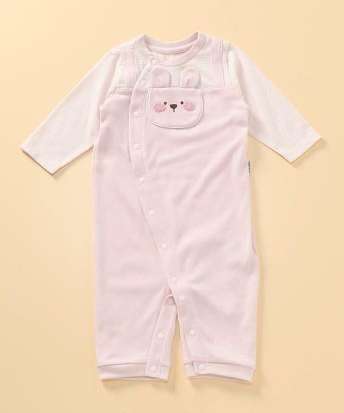 COMME CA ISM/コムサイズム 動物アップリケ付き 長袖ツーウェイオール(50-70サイズ) ピンク 50〜70cm