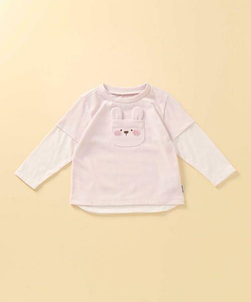 COMME CA ISM/コムサイズム 動物アップリケ付き レイヤード長袖Tシャツ(80・90サイズ) ピンク 80cm