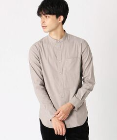 《素材》<br>味わいのあるメランジカラーが、生地の表情を豊かに表現。<br>素材はナイロン混なので、柔らかさがあり、しなやかな肌触り。<br>また、高い伸縮性を持たせたストレッチ素材なので、着心地の良さもポイントです。<br><br>《デザイン》<br>定番アイテムとして、定着したバンドカラーシャツ。<br>生地の表情を生かすために、デザインはシンプルにしています。<br>襟付きシャツに比べ、様々なアイテムとのレイヤードがしやすく、きちんと感もプラス。<br>4色のカラーバリエーションも魅力です。