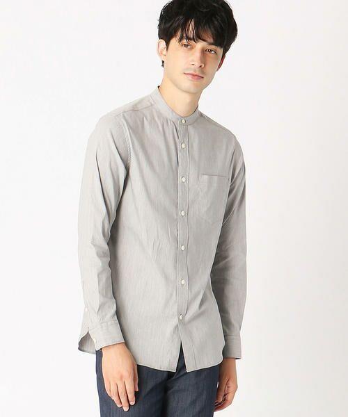 COMME CA ISM / コムサイズム シャツ・ブラウス | バンドカラーシャツ(グレー)