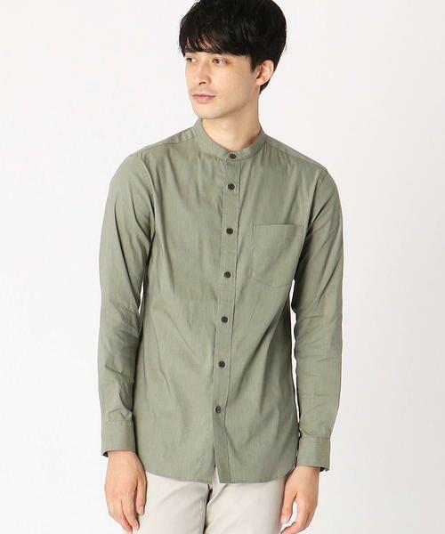 COMME CA ISM / コムサイズム シャツ・ブラウス | バンドカラーシャツ(グリーン)