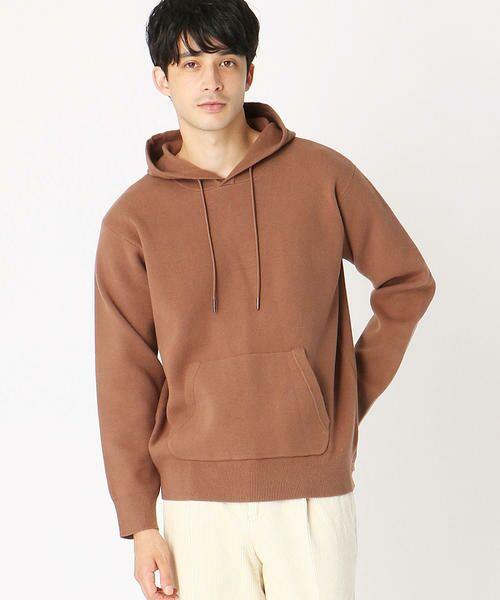 COMME CA ISM / コムサイズム ニット・セーター   〈イージーケア〉 ニットプルオーバー パーカ(ブラウン)