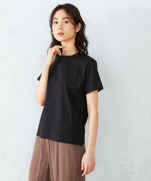 COMME CA ISM / コムサイズム カットソー | 〈吸水速乾〉 ベーシックTシャツ(ブラック)