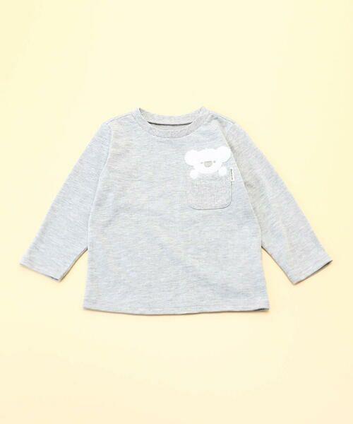 COMME CA ISM/コムサイズム 動物アップリケ付き 長袖Tシャツ(80・90サイズ) ライトグレー 80cm
