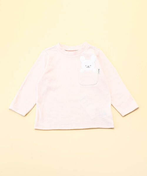 COMME CA ISM/コムサイズム 動物アップリケ付き 長袖Tシャツ(80・90サイズ) ピンク 90cm