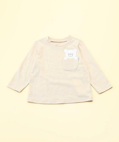 COMME CA ISM/コムサイズム 動物アップリケ付き 長袖Tシャツ(80・90サイズ) ベージュ 80cm