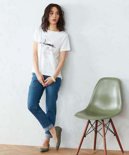 COMME CA ISM / コムサイズム Tシャツ | 《コットン》 クルーネック プリントTシャツ | 詳細1